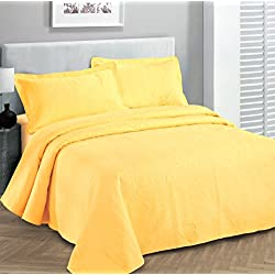 "Fancy Collection 3pc Luxury Bedspread Coverlet Embossed Bed Cover Solid Yellow New Over Size 100""x106"" Full/queen"