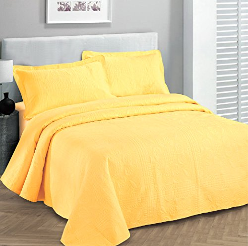 Fancy Collection 2pc Luxury Bedspread Coverlet Embossed Bed Cover Solid Yellow New Over Size Twin/Twin XL