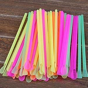 "500 Spoon Straws Assorted Neon Colored Snow-Cone Drinking Plastic Straws With Spoons 7 3/4"" Plastic Milkshake Straws."