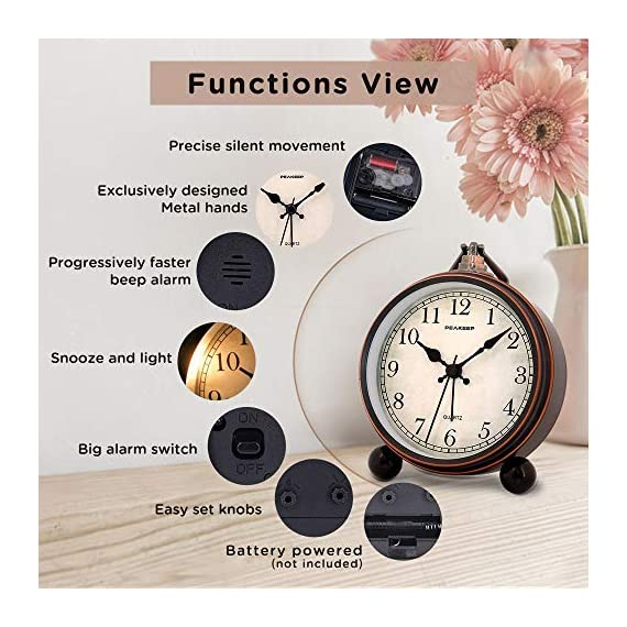 """Peakeep 4"""" Battery Operated Antique Retro Analog Alarm Clock, Small Silent Bedside Desk Gift Clock - This vintage retro alarm clock is 4 inches in diameter, metal frame antique design will add funky retro decorative feel to your bedroom, bedside, bookcase, TV table, fireplace mantle etc. Quartz analog clock offers a very silent non-ticking movement and accurate time. This bedside alarm clock has a beep noise that starts out at one pace and progressively get faster and louder in 4 stages. A big alarm switch ensures you turn the alarm on/off easily. - clocks, bedroom-decor, bedroom - 510X5sHxiVL. SS570  -"""