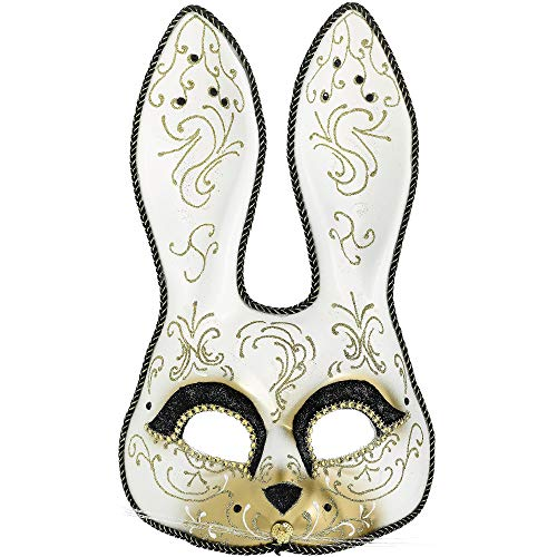 AMSCAN Glitter Gold Scroll Bunny Mask Halloween Costume Accessories, One Size