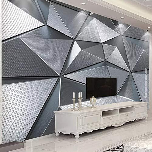 Foto Wallpaper 3D Stereo in Metallo Geometrica Sfondo Muro Murales Soggiorno Camera Da Letto Divano TV di Arte Creativa Carte Da Parati Complementi Arredo Casa cchpfcc-400X280CM