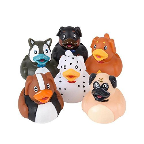 Novelty 12 Count Dog Style Rubber Ducks New