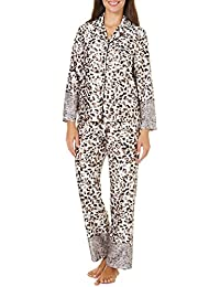 Womens Satin Leopard Pants Set