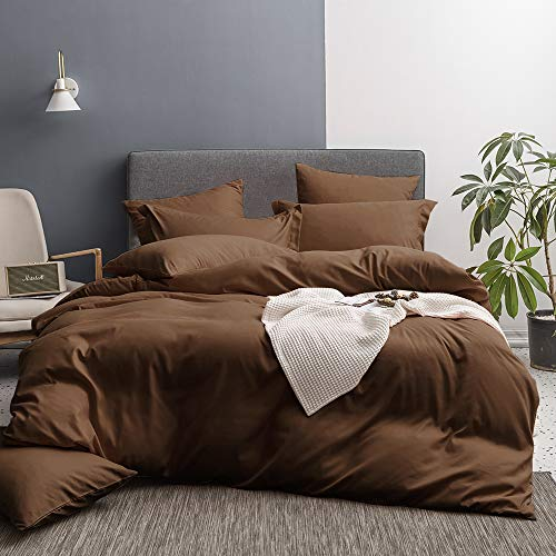 - Merryfeel Bedding Duvet Cover 3 Pieces Set,Ultra Soft Brushed Microfiber Hotel Collection - Comforter Cover with Button Closure and 2 Pillow Shams,Chocolate -King