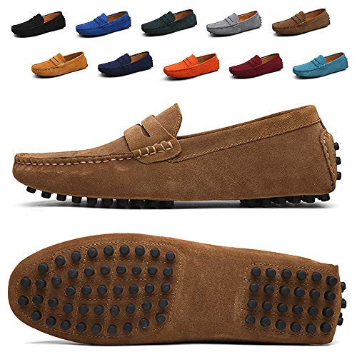 (TSIODFO Men's Driving Penny Dress Loafers Suede Leather Driver Moccasins Slip On Shoes (2088-Khaki-47))