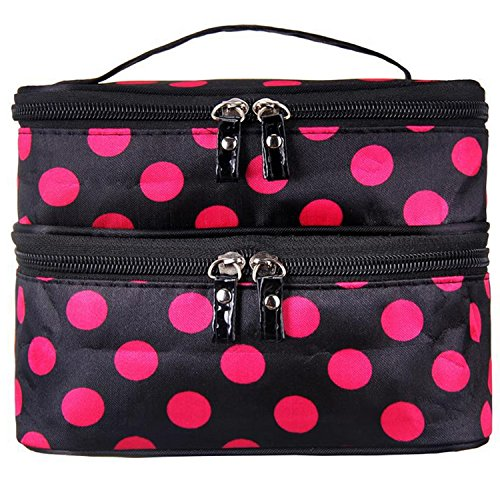 Double-Layer-Travel-Cosmetic-Makeup-Bag-Dot-Pattern-Toiletry-Bag-Organizer-With-Mirror-Black-Rose
