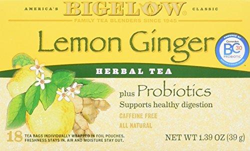 Bigelow Tea Herbal Tea Plus Probiotics Lemon Ginger -- 18 Tea Bags