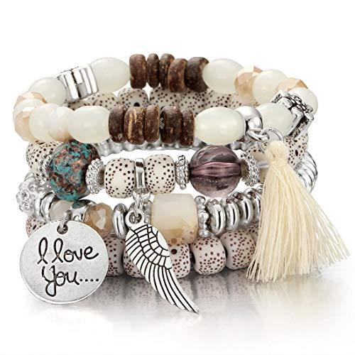 (SINOBI 4 Wrap Women Boho Bracelets Multicolor Stretch Beaded Stackable Charm Bangles Natural Gemstone Jewelry for Women)