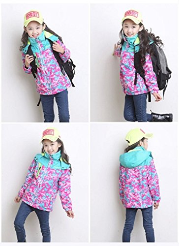 Bakerdani Girls Casual Jacket Floral Zipper Hooded Coat Removable Two-piece Suit by Bakerdani (Image #5)