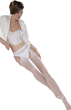 5c164b4ab42 Sexy White Bridal Sheer Suspender Stockings with Open Crotch Wedding Erotic  Hosiery Costume (XS/