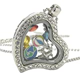 Lola Bella Gifts Crystal Travel & Vacation Theme Floating Charms Locket Necklace Gift Box
