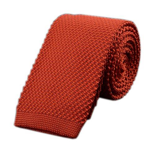 Men Deep Orange Narrow Retro Autumn Ties Stylish Textured Necktie For (Orange Silk Narrow Ties)
