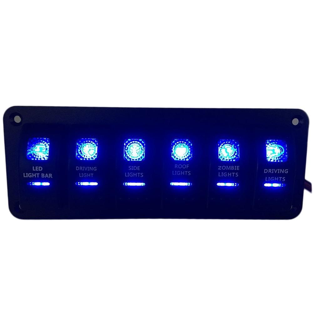 Futurepast Wippenschalter Wippschalter Panel Rocker Schalter Panel IP65 Wasserdicht 6 x LED Wippschalter Schiffen Yachten Wohnwagen Fahrzeugen