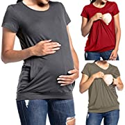 Women's Maternity Tee Shirt Doubled Layered Round Neck Ruched Nursing Breastfeeding Top (Army Green, XL)