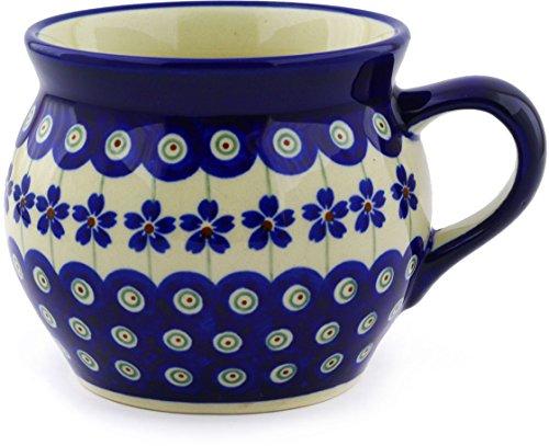 Polish Pottery Bubble Mug 16 oz Flowering Peacock