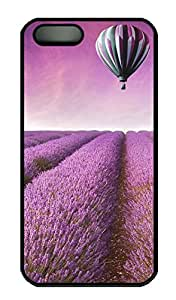 Purple-Scenery-Lavender Flowers-Hot Air Balloon - iPhone 5 5S Case Funny Lovely Best Cool Customize PC iPhone 5 Cover Black