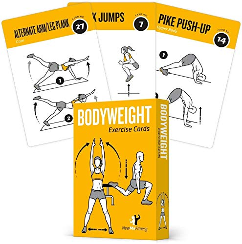 Bodyweight Exercise Cards Home Gym Workout Personal Trainer Fitness Program Guide Tones Core Ab Legs Glutes Chest Bicepts Total Upper Body Workouts Calisthenics Training Routine (Best Cardio Workout Routine)