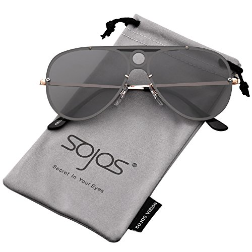SOJOS Oversized Flat Top Aviator Sunglasses for Men and Women Mirrored Lens Rimless SJ1096 with Gold Frame/Clear Grey ()