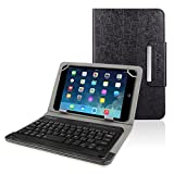 Kamor PU Leather Case Bundle with Bluetooth Wireless Keyboard - Black