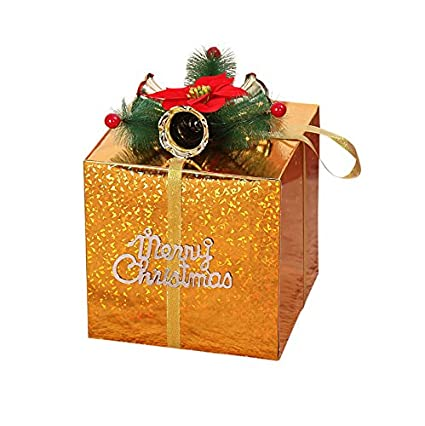 remeehi christmas gift boxs decorations christmas showcase decorative present boxes with bell ornaments 15cm