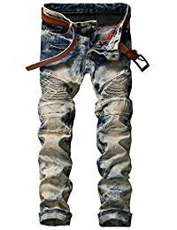 HerQueen Mens Jeans Shrink-To-Fit Biker Straight Distressed Washed Comfort Pants