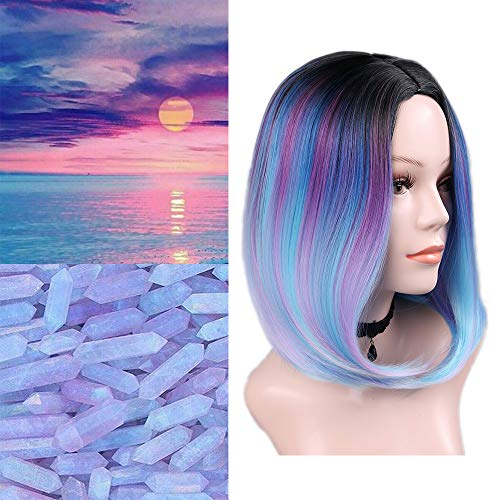 Quick Wig 14 Inch Ombre Wig Bowl Cut Short Bob Wig Straight Hair Middle Part Cosplay Wig Heat Resistant Fiber Synthetic Wigs for Women(Black/Blue/Purple/Pink/Mint Green) -
