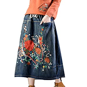 YESNO E07 Women Girl Denim Skirts Lagenlook Handcraft Embroidery Elastic Waist Drawstring