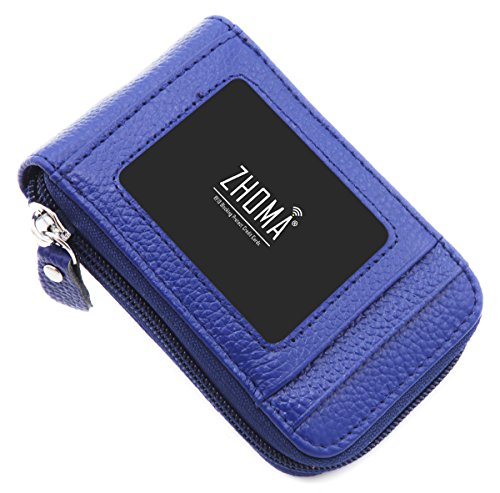 Genuine Leather Credit Card Case Holder Travel Wallet with ID Window - Navy Blue ()