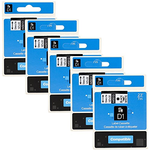 5 Pack D1 Label Tape 45013 S0720530 Compatible for DYMO