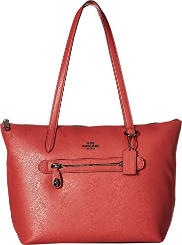One Pocket Tote - COACH Women's Pebbled Taylor Tote Dk/Washed Red One Size