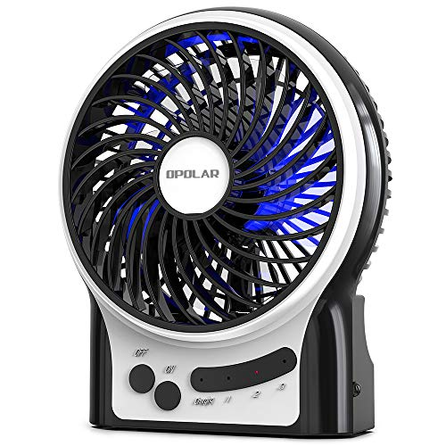 OPOLAR Portable Travel Mini Fan with 3-13 Hours Battery Life for Camping, Personal Battery Operated or USB Powered Handheld Fan, Internal Blue and Side Light, 3 Speeds, Quiet, Rechargeable -
