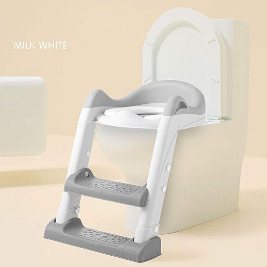 JIAJU Aseo Escalera Asiento Escalera del tocador de niños Asiento para WC con escalón Plegable Orinal Formación,Antideslizante, Robusto,diseño Plegable y de Altura Ajustable para 1–7 niños: Amazon.es: Hogar