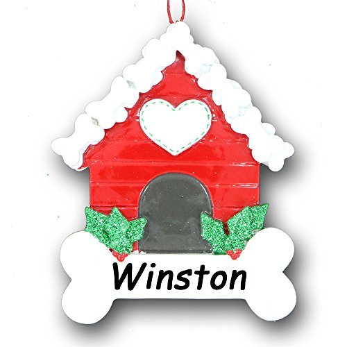 Ornament Bush (Personalized Pet Dog Furry Friend Red Doghouse Dog House with Christmas Holly Bush Dog Bone and Heart Detail Hanging Christmas Ornament with Free Name)