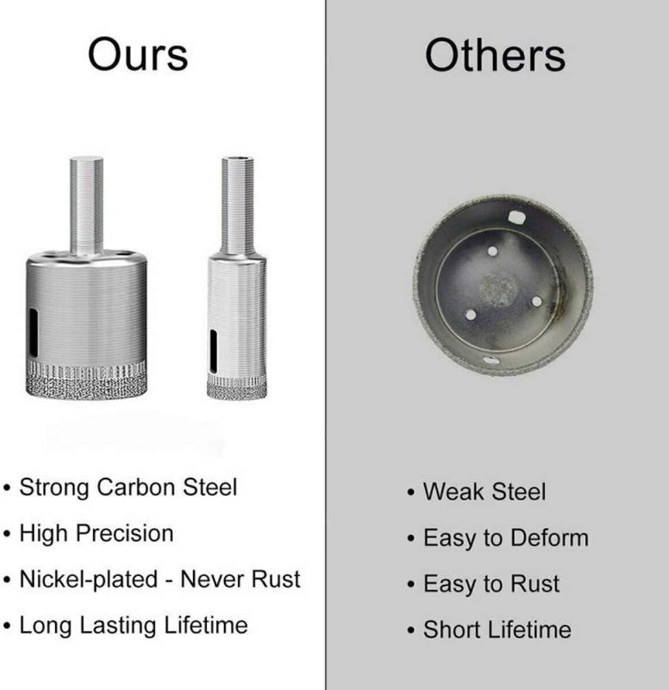 10PCS Diamond Drill Bit 6-30mm Diamond Holesaw Drill Bits Tools Set Hollow Core Drill Bits with Diamond Coating for Glass Ceramic Tile Porcelain Marble Granite