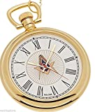 New Bulova Gold Plated Freemason Masonic Pocket Watch and Matching Chain
