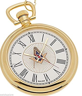 736f0aa70 Amazon.com: New Bulova Gold Plated Freemason Masonic Pocket Watch ...