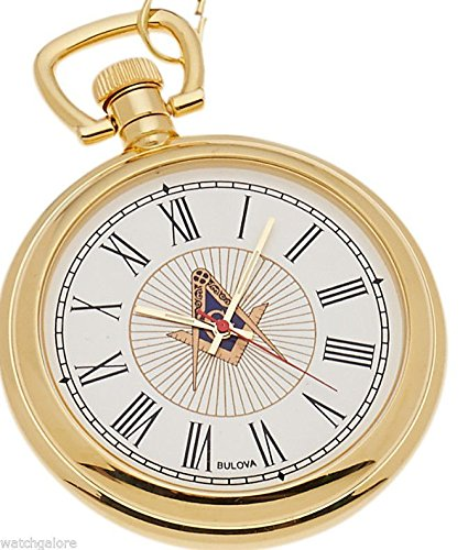 New Bulova Gold Plated Freemason Masonic Pocket Watch and Matching Chain by Bulova