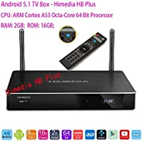 SUNKINFON 2016 Hot HIMEDIA H8 PLUS Bluetooth 4.0 Smart Android 5.1 TV Set-Top Box: 4K 3D BD-ISO UHD Octa Core 64Bit 2GB/16GB, Dual-Band WiFi 2.4GHz/5GHz Media Player with Time LCD Monitor Metal Shell