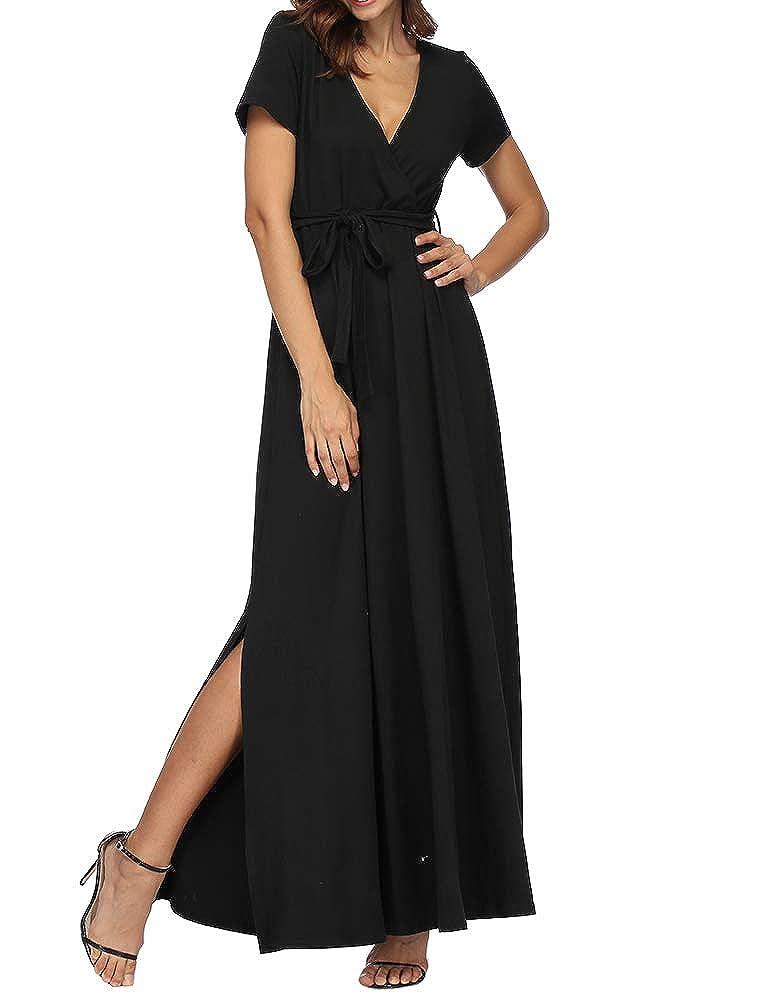 Black Zaoqee Women's V Neck Wrap Long Dresses Split Side Short Sleeve Maxi Dress with Belt