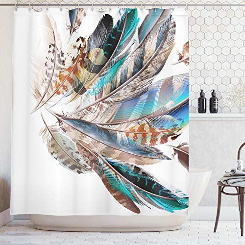 Ambesonne Feather House Decor Shower Curtain, Vaned Types and Natal Contour Flight Feathers Animal Skin Element Print, Fabric Bathroom Decor Set with Hooks, 70 Inches, Teal Brown