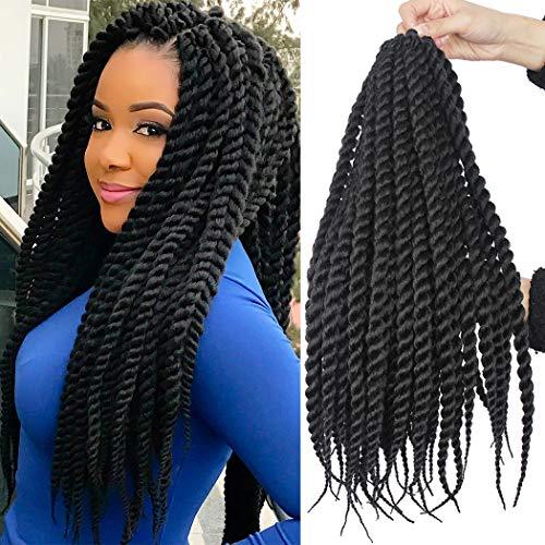 6 Packs 18 Inch Havana Mambo Twist Crochet Hair Senegalese Twist Crochet Braids Havana Twists Braiding Hair (1B#)