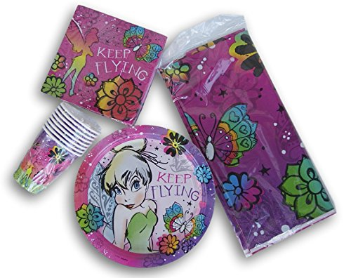 Tinkerbell Fairy Party Set - Tablecover, Dinner Plates, Dinner Napkins, and (Tinkerbell Birthday Theme)