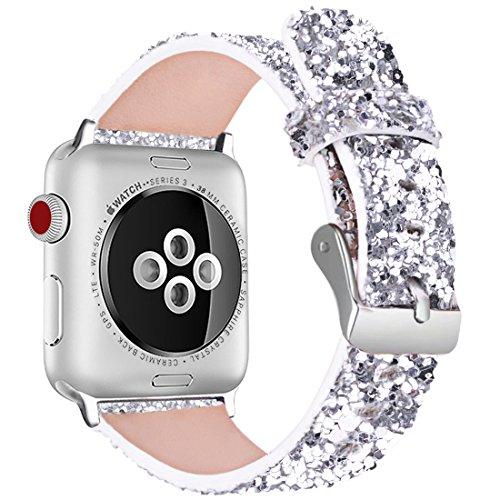 iiteeology Christmas Shiny Glitter Power PU Leather Bling Luxury iWatch Band Wristwatch Bracelet Strap Belt Compatible Apple Watch (Silver, 38mm 40mm)