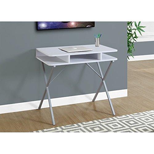 """Monarch Computer Desk, White/Silver, 31"""""""