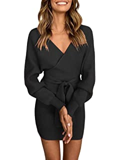 c1b4b466db9 Ramoug Womens Sexy Cocktail Wrap Deep V Neck Batwing Long Sleeve Knitted Mini  Sweater Dress with