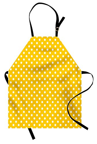 Lunarable Polka Dots Apron, Traditional Polka Dots Motif in Row on Sunny Colored Backdrop Girls Bohemian, Unisex Kitchen Bib with Adjustable Neck for Cooking Gardening, Adult Size, Yellow and White (Apron Dot)