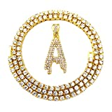 HH Bling Empire Iced Out Hip Hop Gold Faux Diamond Bubble Dripping Letter Tennis Chain Necklace 20 Inch (Dripping Letter A)