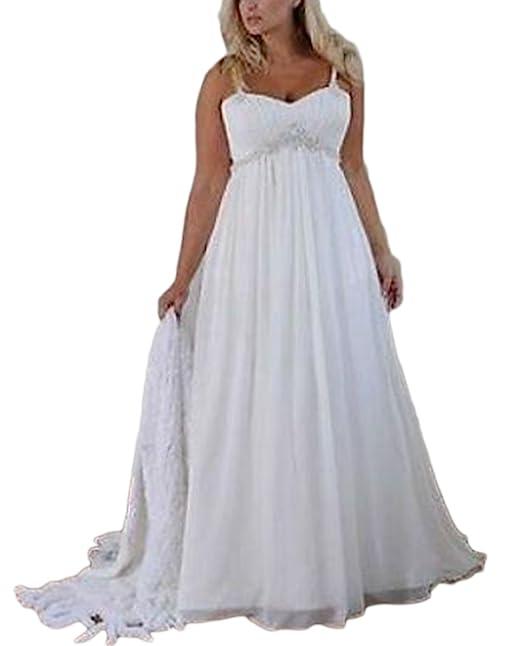 Veilace Women S Beach Wedding Dress Spaghetti Straps Beaded Chiffon