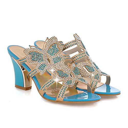 Sandalias Heel Rhinestone Color Casual Ladies Rhinestone 39 Blue tamaño Confort pie del Verano Chunky de Dedo Zapatos Gold PU Sandalias Primavera Mujer Azul Round del para BFYa8qv